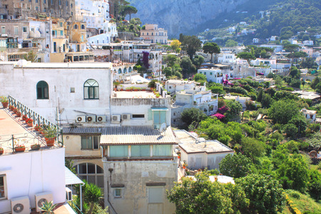 italian architecture: Capri island, Italy. Traditional Italian architecture at the seaside in the mountains. Stock Photo