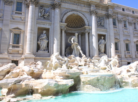 Trevi Fountain in Rome, Italy. Historic architecture. Built in 1732-1762 by architect Nicola Salvi. The most famous fountain in Rome.