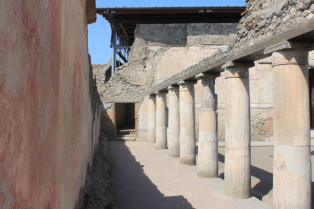 ruins is ancient: Fragments of Pompeii ruins. Ancient Roman city in Italy died from eruption of Mount Vesuvius. Stock Photo