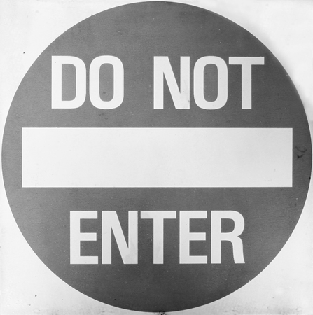 single entry: Do Not Enter sign  black and white photo Stock Photo