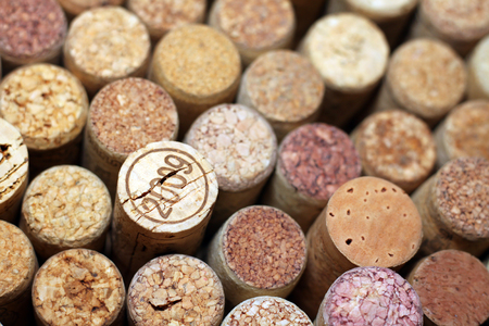 Wine corks close-up, one of wine corks with the date