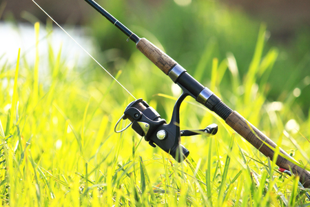 Fishermans fishing rod with inertia-free coil in summer on shore of lake