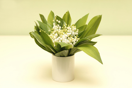 Bouquet of white lilies of the valley - flowers for bride at wedding Stock Photo