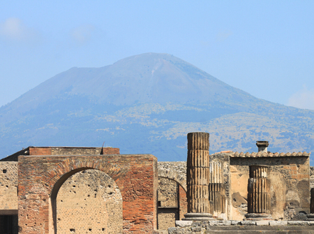 Ruins of Pompeii with Mount Vesuvius near Naples Italy