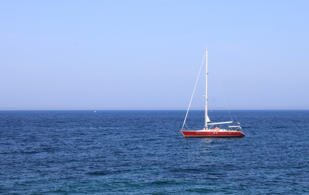 ship bow: Lonely yacht in the sea in summer