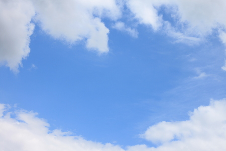 Blue sky background with white clouds closeup Stock Photo