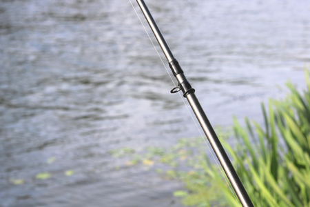 Carbon rod for feeder fishing with feeder cord close-up