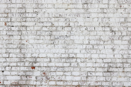 Old wall made of red brick, painted white in loft style for modern designer interior of room, bar or restaurant Stock Photo