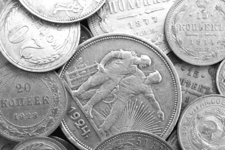 Numismatic collection of old silver coins of different times close-up