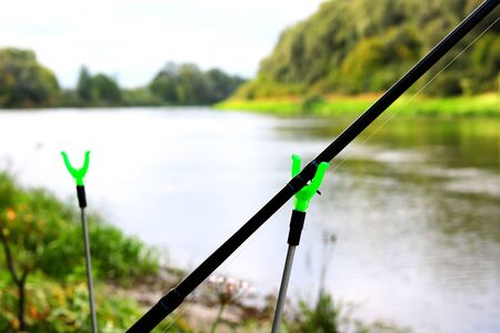 Fishing with fishing rod Stok Fotoğraf