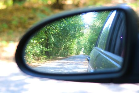 Car mirror with image of summer forest in reflection in good clear weather as popularization of automotive tourism