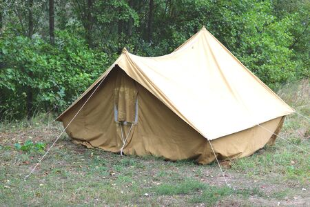 Old canvas tent in tourist camp in summer Stock fotó