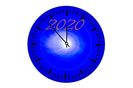New Year clock with arrows and inscription 2020 on dial 版權商用圖片