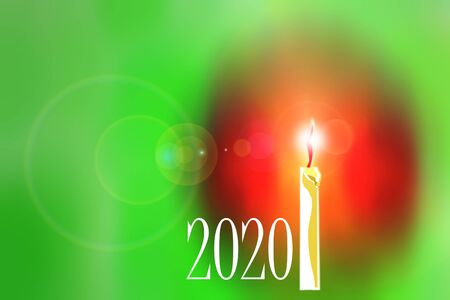 Beautiful abstract image of burning candle on colored background with inscription 2020