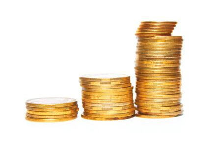 Concept Success in Business with Stack of Gold Coins, isolated close-up