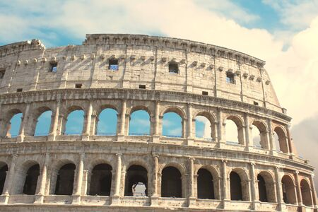 Colosseum in Rome - Flavian Amphitheater closeup, Italy, Europe.