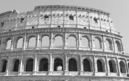 Black and white photo of Colosseum in Rome - Flavian Amphitheater closeup, Italy, Europe. Stock Photo