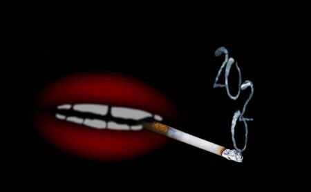 Abstract blurred image of cigarette with smoke in shape of inscription 2020 and red shapeless mouth on black background as abstract unusual christmas card