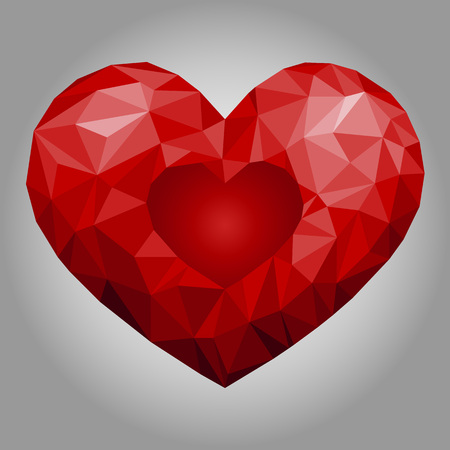 Low poly heart. Vector Illustration. Abstract polygonal heart. Love symbol. Romantic background for Valentines day.