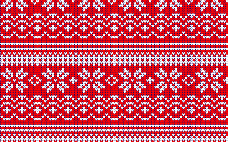 knitted banner seamless pattern with beautiful snowflakes Stock Photo