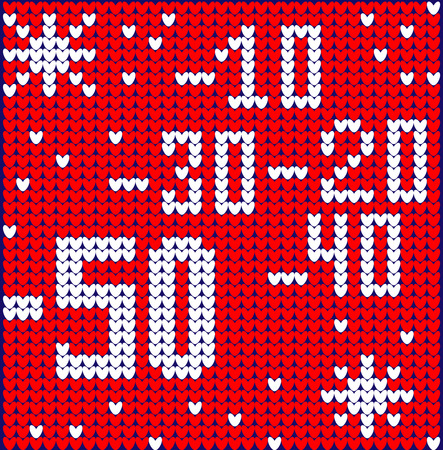 Winter sale discount banner. Ugly sweater. Vector illustration Handmade knitted background pattern with scandinavian ornaments. White, red, colors. Flat style Vectores