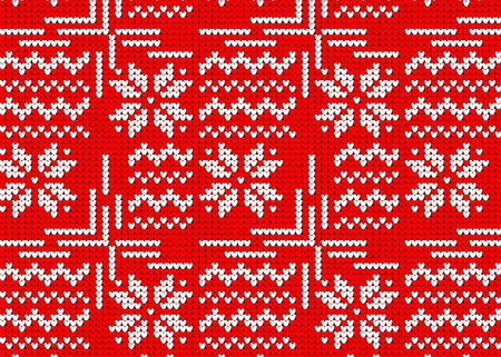 Knitted sweater with winter red pattern. Illustration