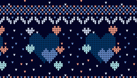 Seamless knitted pattern with hearts background. Knitting sweater design illustration.