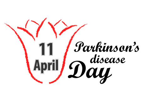 World Parkinsons disease Day design wit Red tulip and text vector illustration