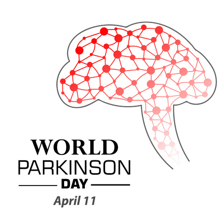Vector illustration of a Banner for World Parkinsons Day. Brain and neurons Illustration