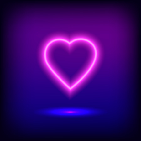 Bright heart. Neon sign. Retro neon heart sign on purple background. Ready for your design, greeting card, banner.