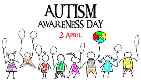 Mese di sensibilizzazione sull'autismo. Puzzle multicolore sotto forma di palloncini. Doodle bambini con palloncini. Concetto di assistenza sanitaria.