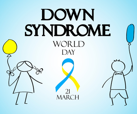 World Day of Down Syndrome. Doodles for children with colored balloons. Healthcare concept.