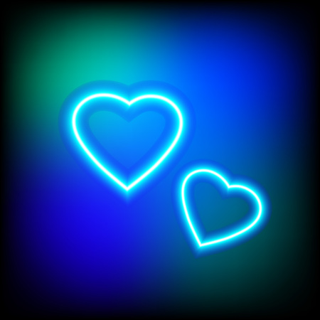 Bright heart. Neon sign. Retro neon heart. Ready for your design, greeting card, banner