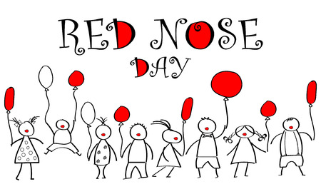World day of red nose. Doodles for children with colored balloons. Healthcare concept. red nose clown