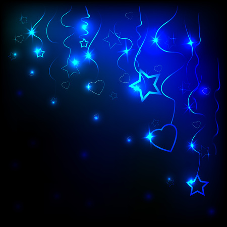 Layout of neon hearts and stars and dark background Illustration