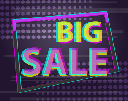 Sale discount poster or banner with glitch text, Anaglyphic Text Effect Illustration