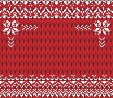 Ugly sweater. Vector illustration Handmade knitted background pattern with scandinavian ornaments. White, red, colors. Flat style