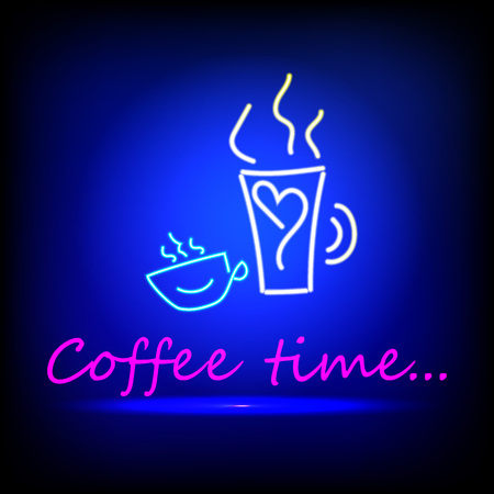 Coffee, two cups blue glowing neon ui ux icon. Glowing sign logo vector Illustration
