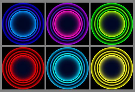 Neon round frame. Shining circle banner. Vector illustration. Round neon frames set Illustration