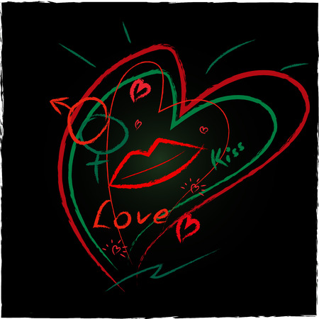 Grunge style background with lips, kiss, mirror of a Venus. Neon style.