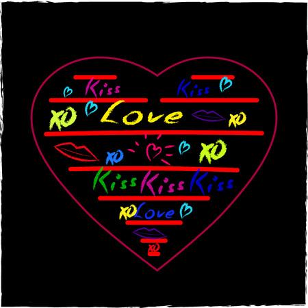 Love Hearts Sketchy Doodles Design Elements on Lined Sketchbook Paper Background- Vector Illustration