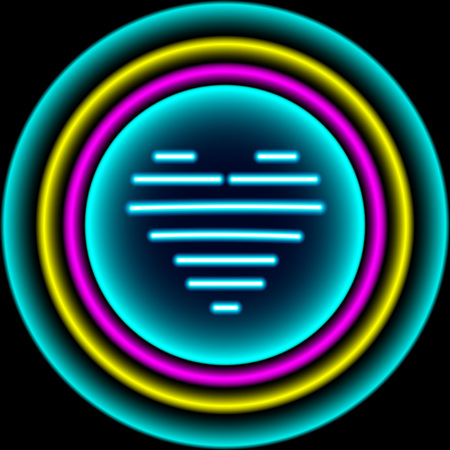 Bright heart. Neon sign. Retro neon heart background. Ready for your design, greeting card, banner. Çizim