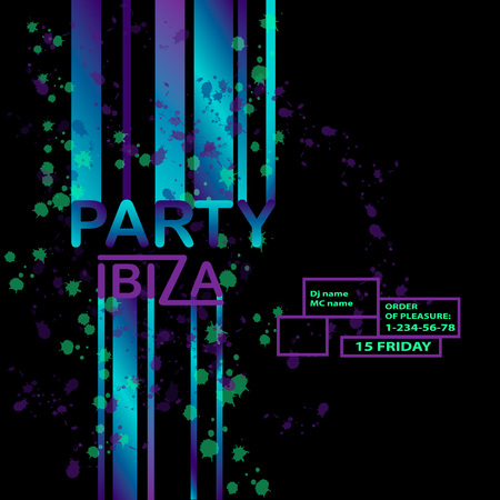 Abstract vector background with text message and abstract colorful elements. Modern neon lines and design element for your art. Party ibiza, dance. Vector  background