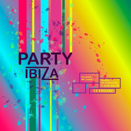 Abstract vector background with text message and abstract colorful elements. Modern neon lines and design element for your art. Party Ibiza, dance vector illustration.