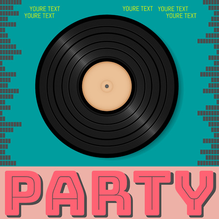 Retro party advertising flyer with old vinyl. Old-fashioned poster design. Vector vintage illustration.Retro background
