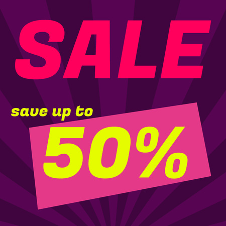 Sale poster, banner. Big sale, clearance. 50 off. Graphic design of discount offer price label. Vector illustration