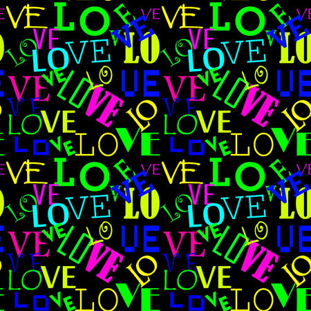 Seamless pattern with love. Abstract Heart-shaped background. Love pattern colored Illustration