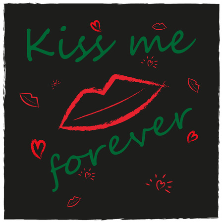 Grunge style background with lips, kiss, heart. Shine slogan with patch