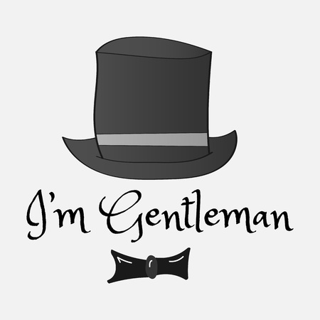 Retro style hat and tie with the inscription for T-shirts. Vintage Colors Vector Illustration 矢量图像
