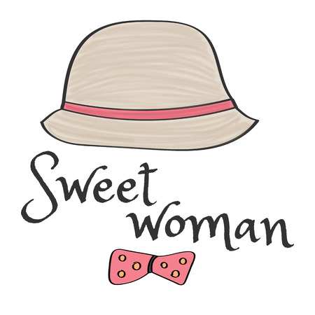 Retro style hat with the inscription for T-shirts -  sweet woman. Vintage Colors Vector Illustration 矢量图像